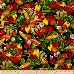 Kiss the Cook Vegetable Black Fabric