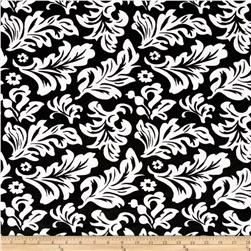 Minky Tossed Leaves Black/Ivory Fabric