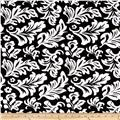 Minky Tossed Leaves Black/Ivory