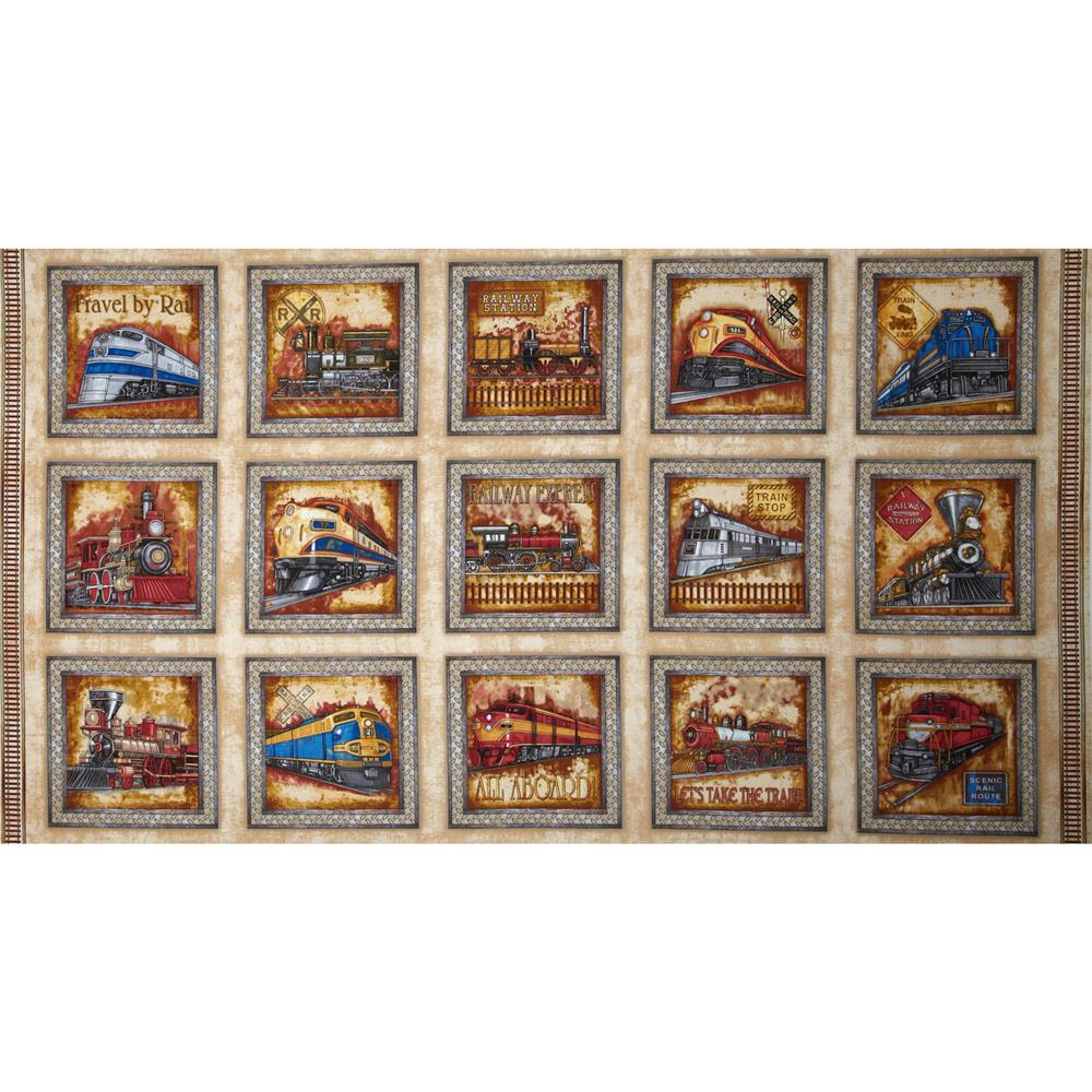 Right on track train panel cream discount designer for Fabric with trains pattern