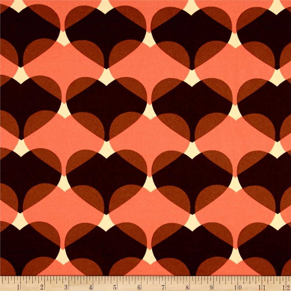 Stretch ITY Knit Heart Print Coral/Brown