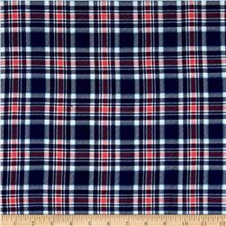 Rayon Challis Buffalo Check Plaid Navy/Coral