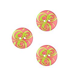 Dill Novelty Button 3/4'' Swirl Hot Pink