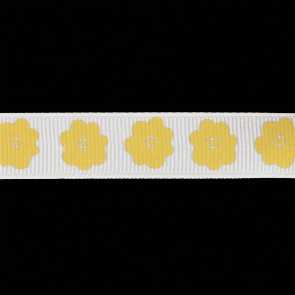 "Riley Blake 5/8"" Grosgrain Ribbon Flower Yellow"
