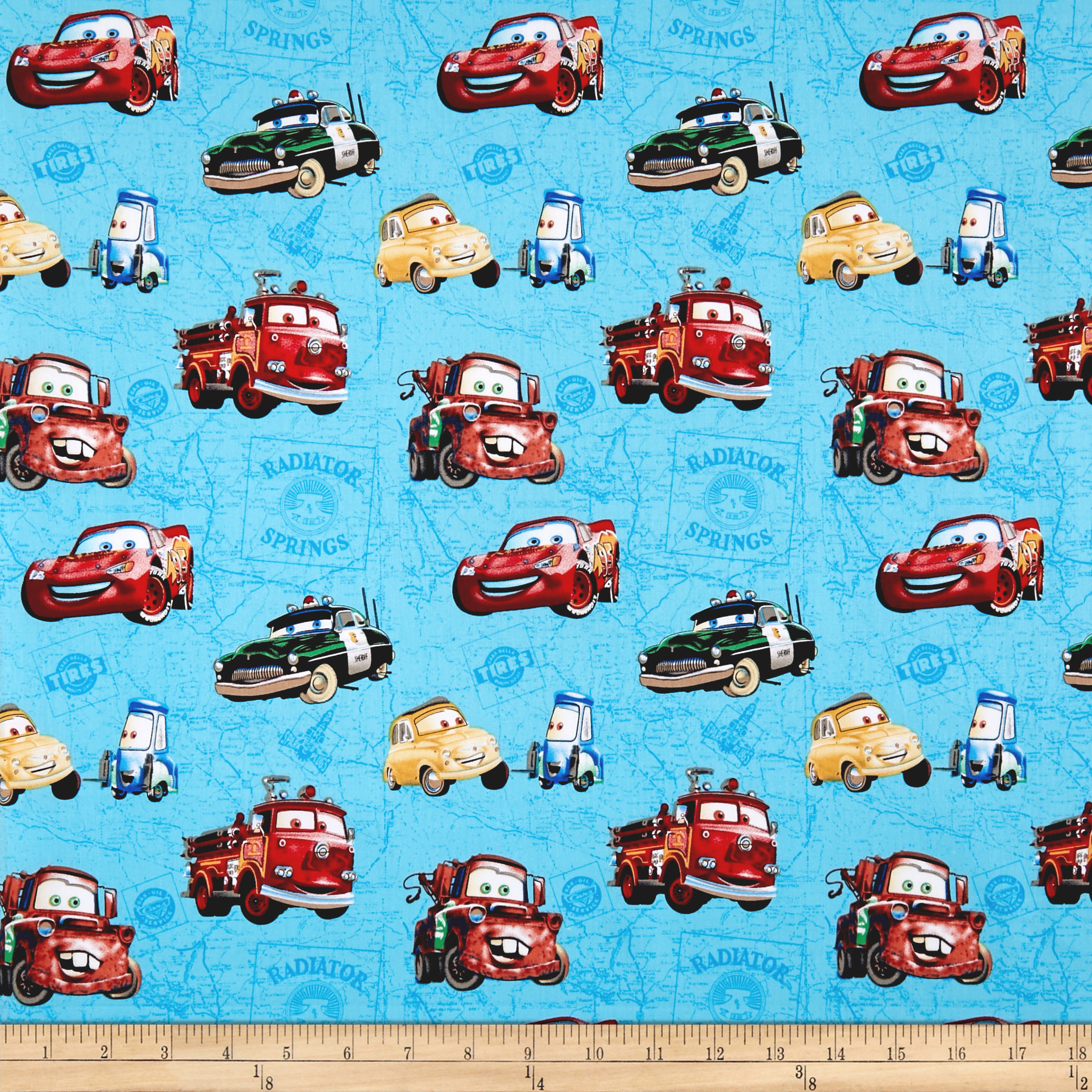 Disney Cars Car Toss On Map Blue Fabric