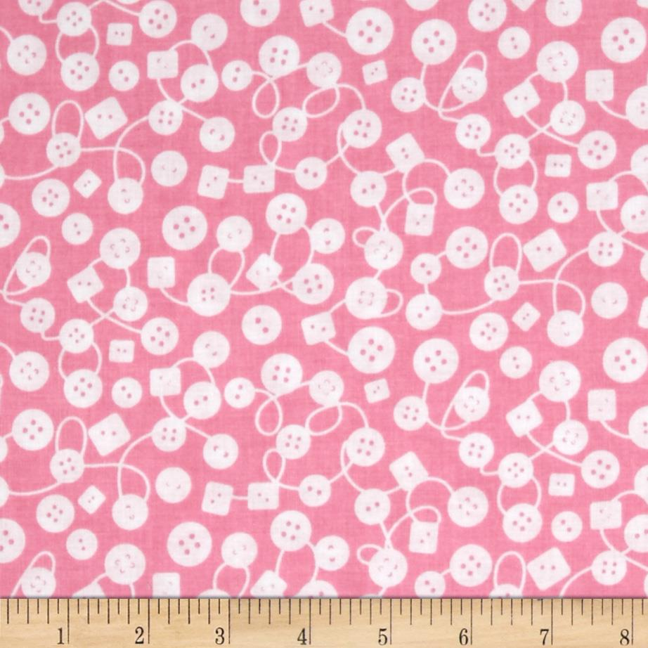 Michael Miller Kids Bouncy Buttons Pink