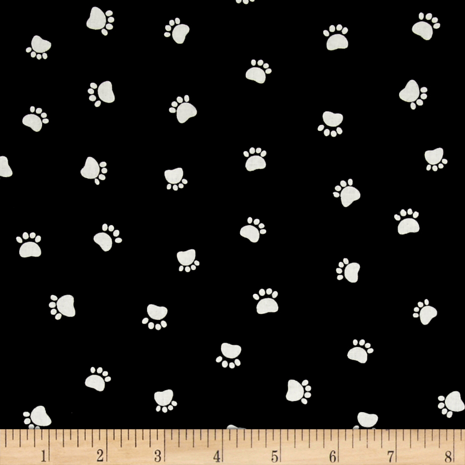 Dog's World Paw Prints Black Fabric