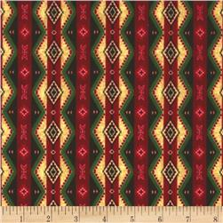 Timeless Treasures Cabin Flannel Blanket Stripe Red