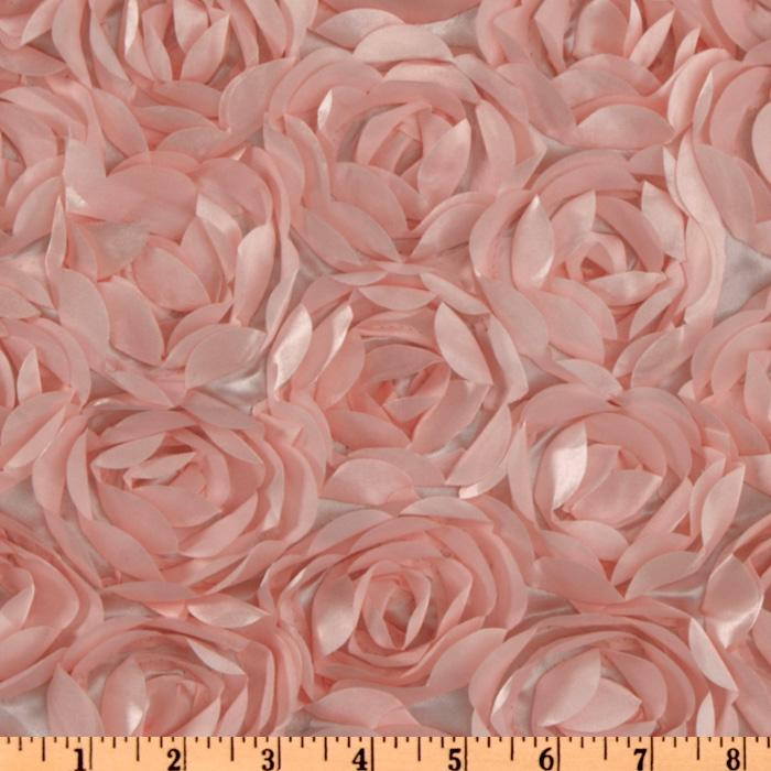 Loveable Satin Ribbon Rosette Pink Fabric By The Yard