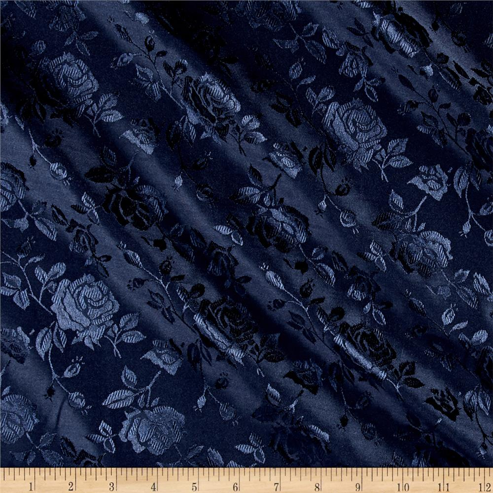 Rose Satin Jaquard Navy