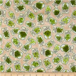 Herb Garden Labels Tan Fabric