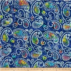 Indian Batik Caledonia Garden Paisley  Blue