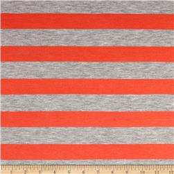 Roly Rayon Spandex Jersey Knit Stripe Grey/Watermelon