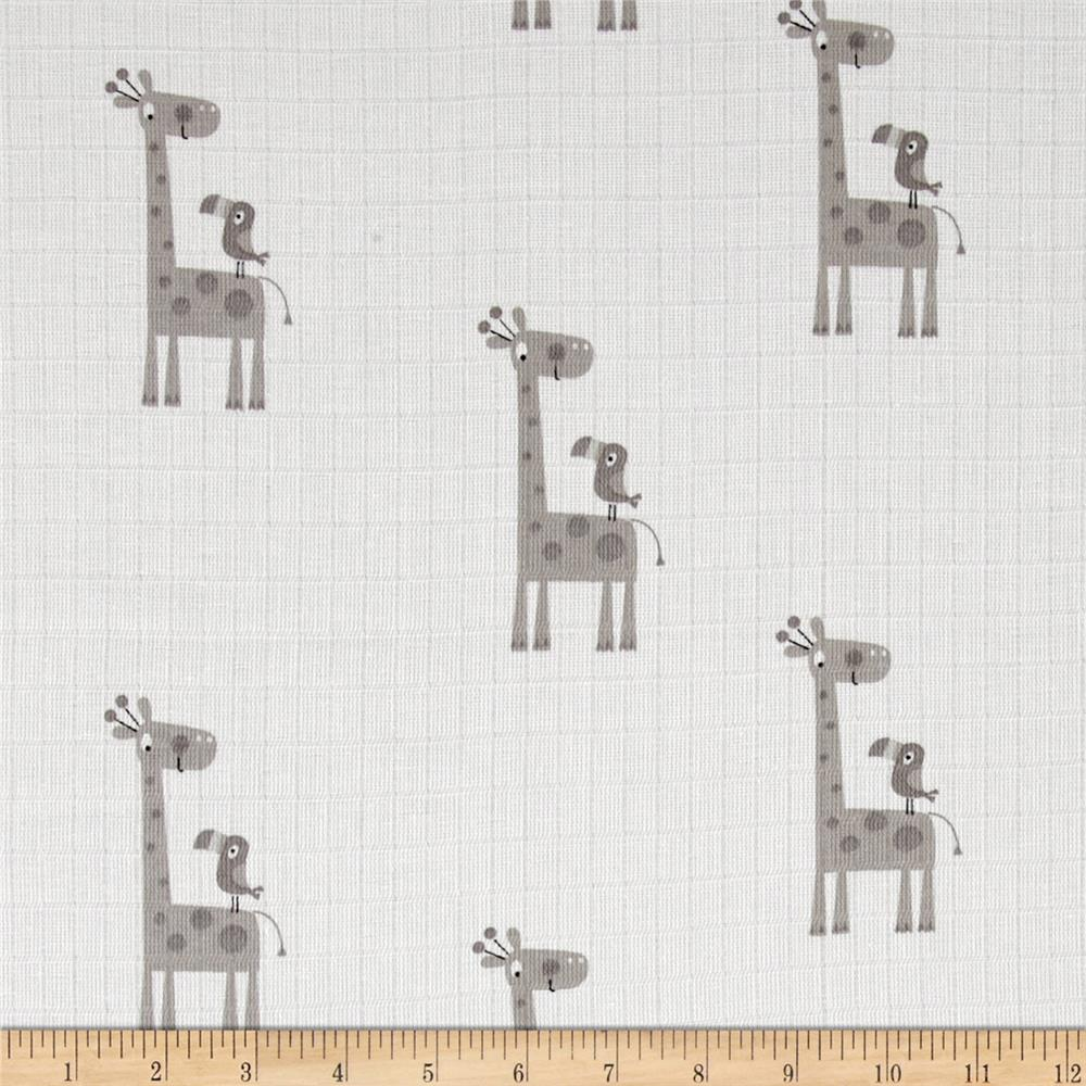 Riley Blake Double Gauze Giraffe Gray