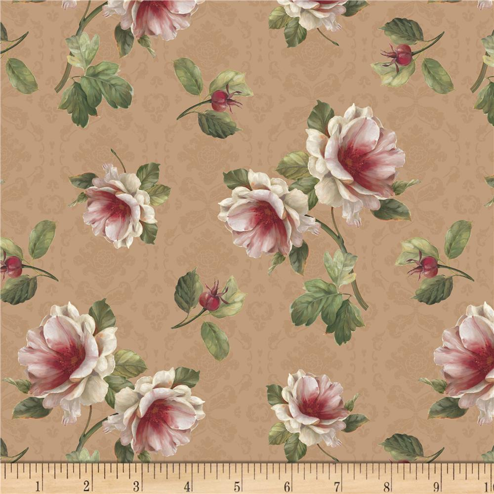 Romantic Afternoon Flannel  Small Floral Tan Fabric