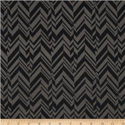 Poly Rayon Ponte Roma Knit Chevron Grey/Black Fabric