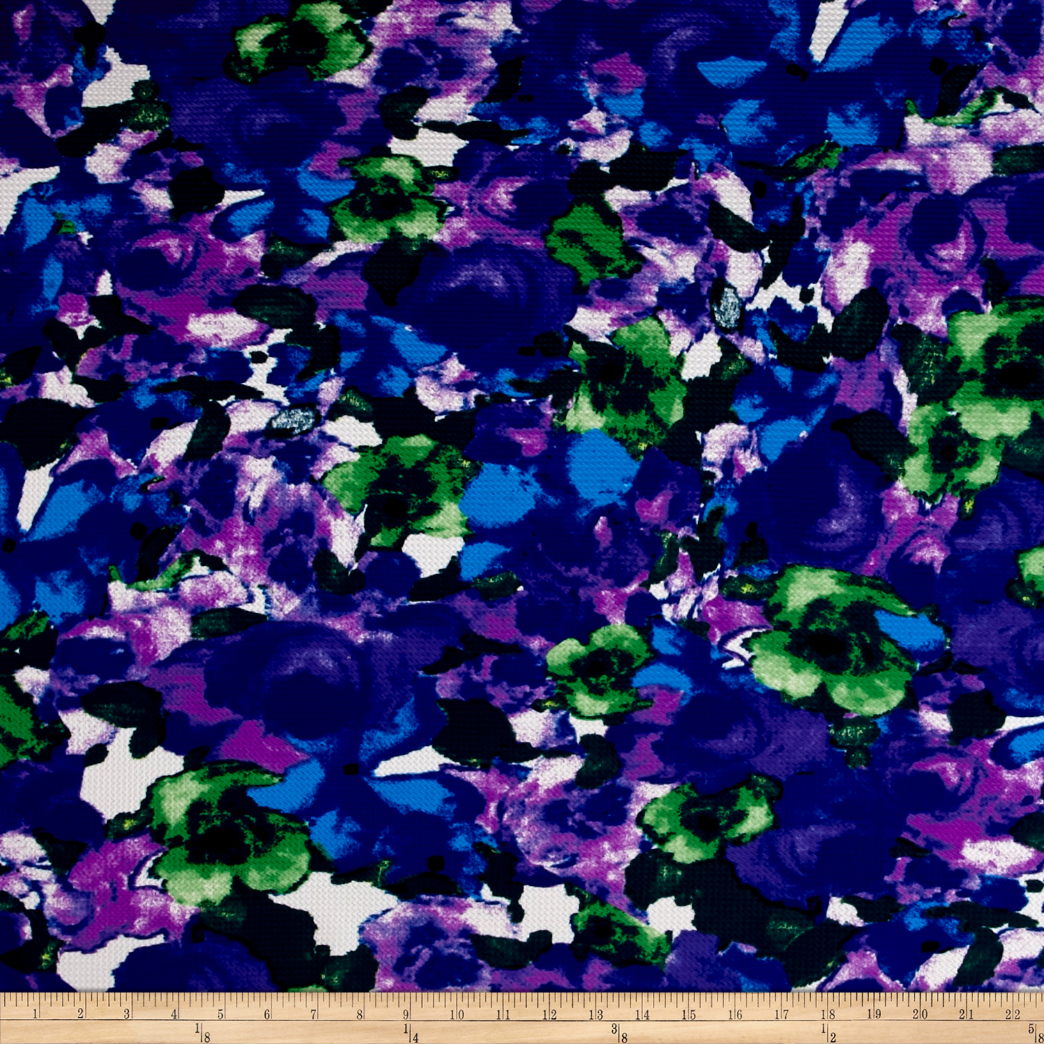 Telio Paola Pique Double Knit Green/Purple Abstract Rose Fabric by Telio in USA