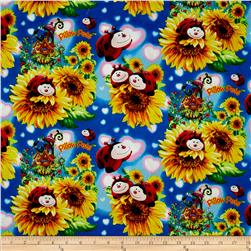 Pillow Pets Ladybugs on Sunflowers Blue/Multi