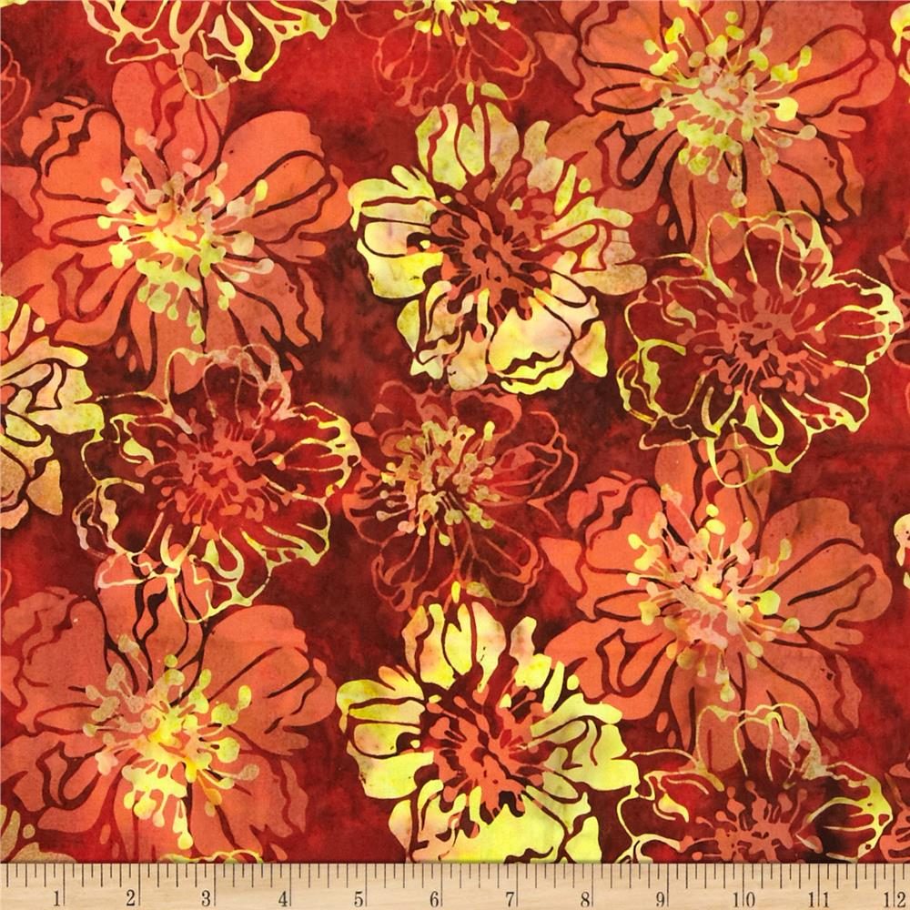 Bali Batiks Handpaints Cliff Rose Paprika