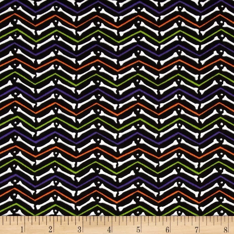 Moda Moonlight Manor Skeleton Chevron Midnight Black
