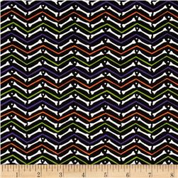 Moda Moonlight Manor Skeleton Chevron Midnight Black Fabric