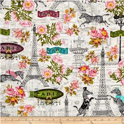 Timeless Treasures Bonjour Paris Wild About Paris Cream