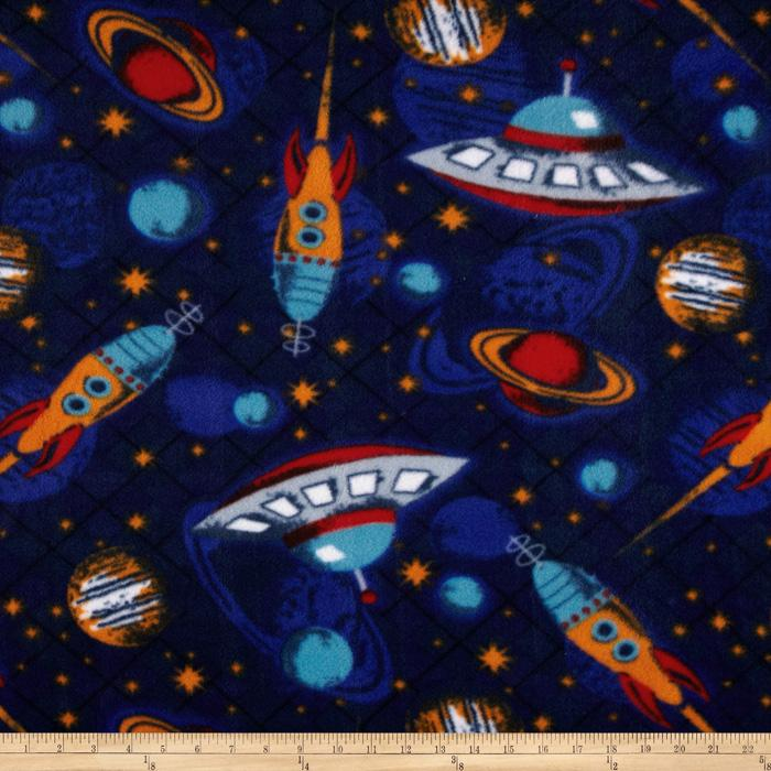 Fleece outer space navy discount designer fabric for Space flannel fabric