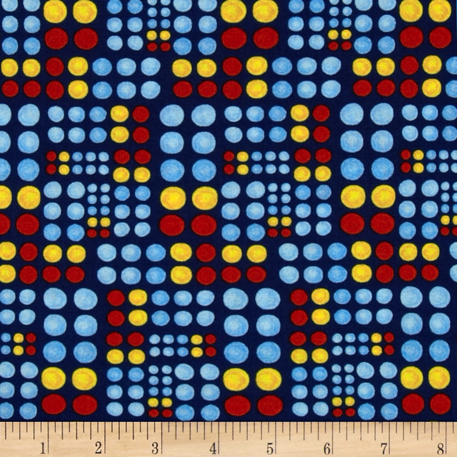 Kid's Corner Dots Navy/Multi Fabric