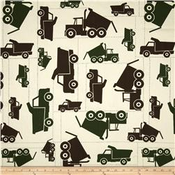 Premier Prints Toy Trucks Natural/Camo Fabric