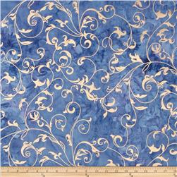 Indian Batiks Metallic Scroll Blue