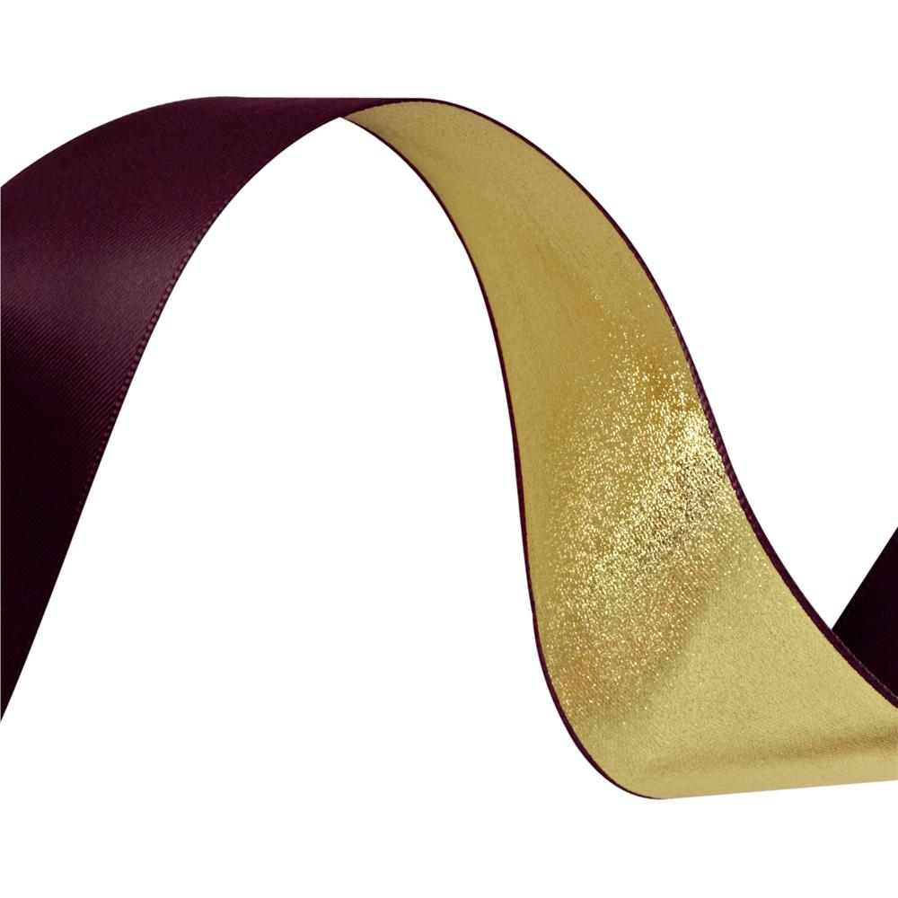 1 1/2'' Reversible Satin Ribbon Metallic Gold/Burgundy