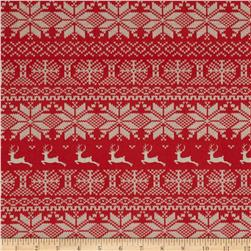 Nordic Christmas Reindeer Stripe Red