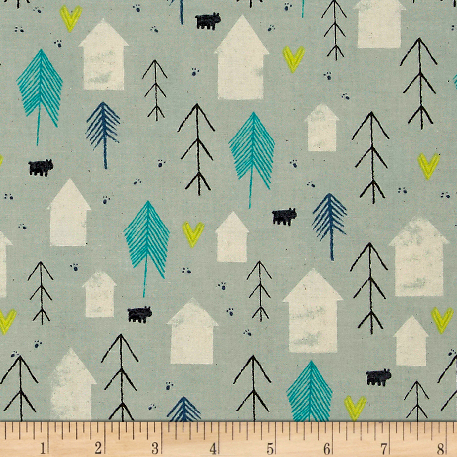Image of Cotton + Steel Cozy Neighbor Mint Fabric