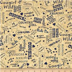 Moda Cowgirl Country Cowgirl Text Suede-Blue