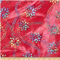 Indian Batik Daisy Trellis Red/Multi