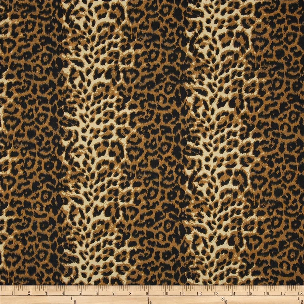 Leopard Print Fabric poly/cotton twill leopard print brown/cream - discount designer