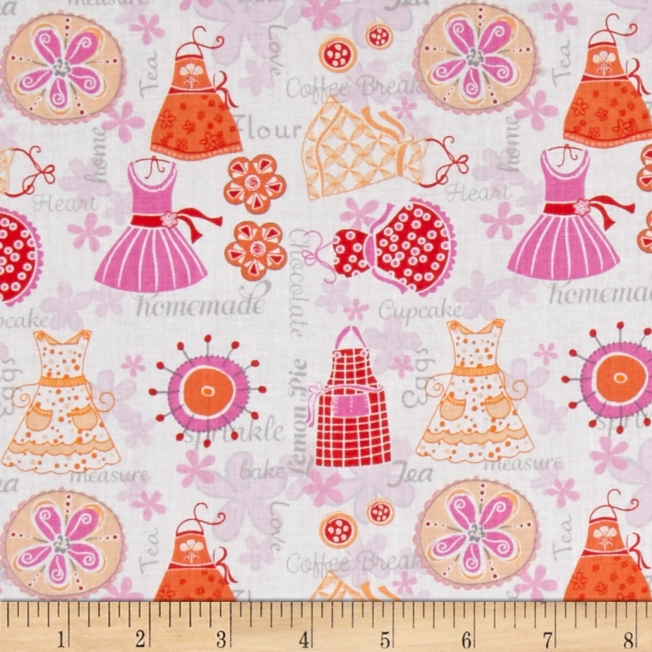 Image of Kitchen Love Apron Strings White/Red/Multi Fabric