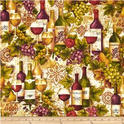 Kaufman Vineyard Collection Wine Bottles & Grapes Merlot