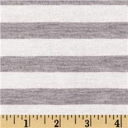 Designer Yarn Dyed Jersey Knit Stripes White/Grey