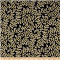 Metallic Lace Metallic Leaf Scroll Black/Gold