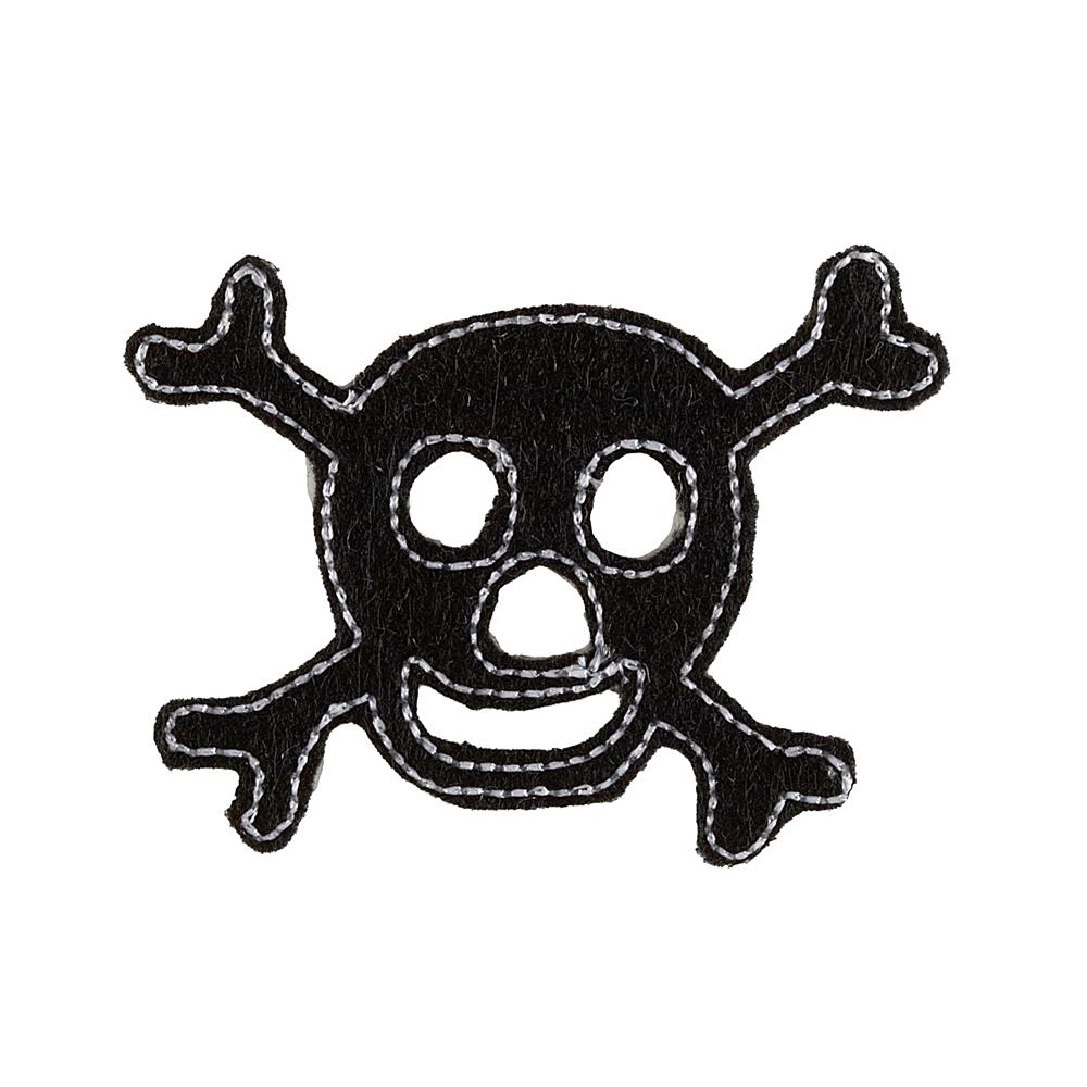 Skull with Felt Applique Black/White