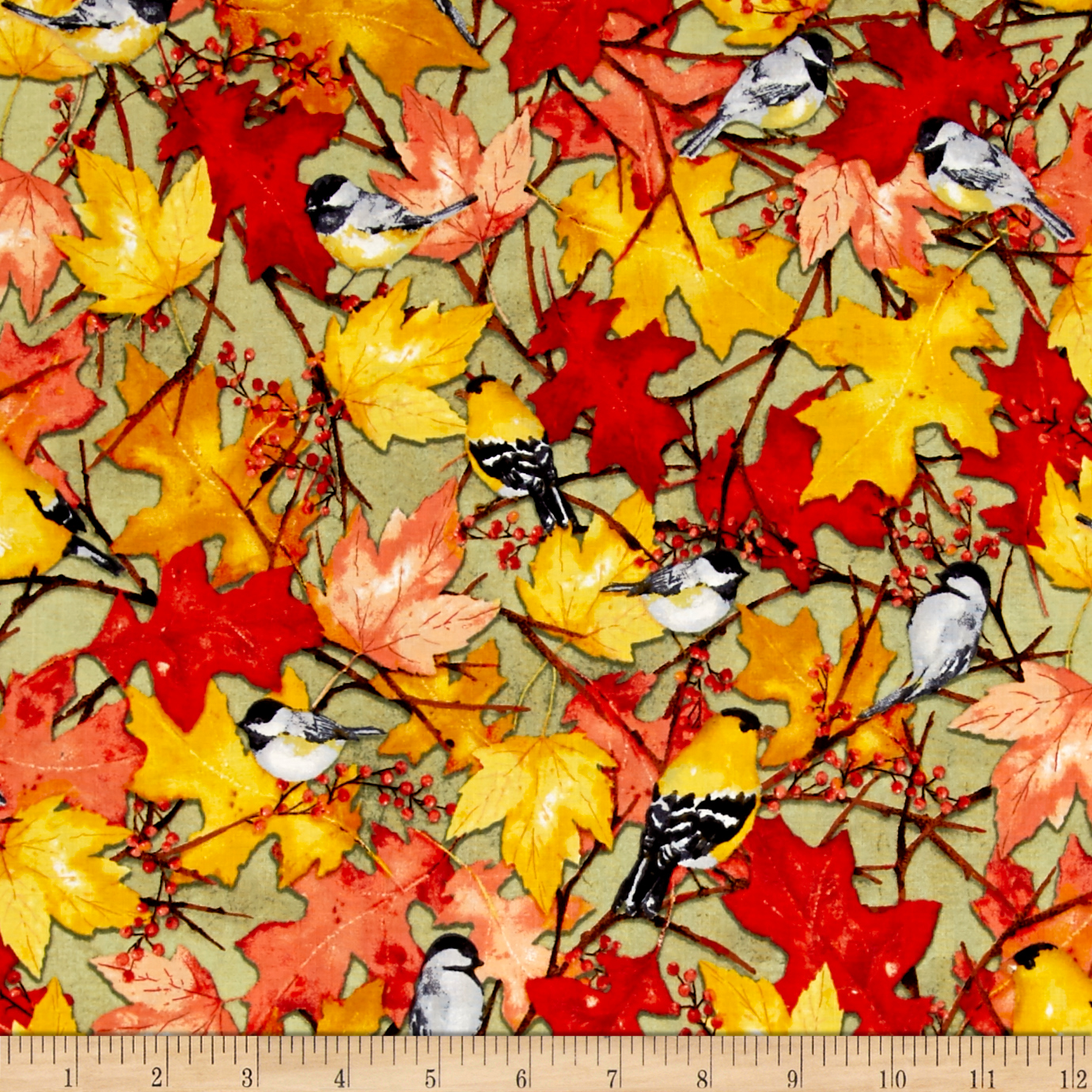 Fall Feast Birds Light Olive Fabric by Clothworks in USA