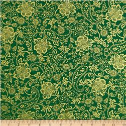 Kanvas Deck the Halls Metallic Tapestry Floral Green