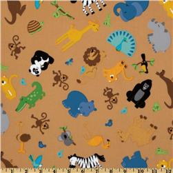 Riley Blake Zoofari Flannel Tossed Animals Brown