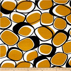 Jersey Knit Abstract Circles Gold