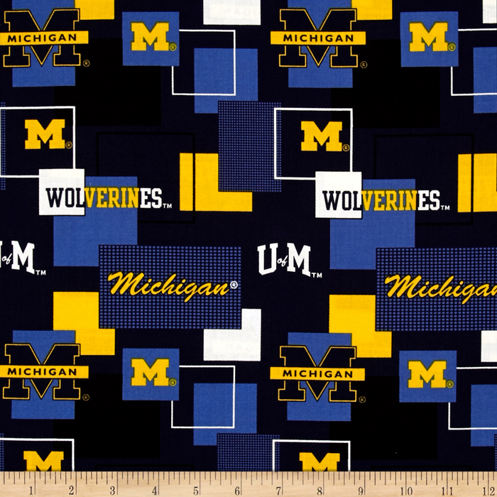 Collegiate Cotton Broadcloth University Of Michigan Block Print Navy Fabric by Sykel in USA