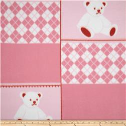 Fleece Argyle Bears Pink/White