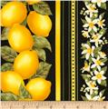 Timeless Treasures Lemon Stripe Black