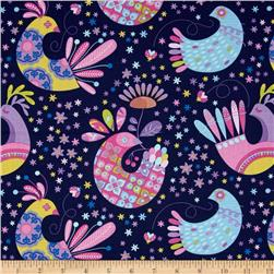 Michael Miller Birds & The Bees Feathered Flock Navy