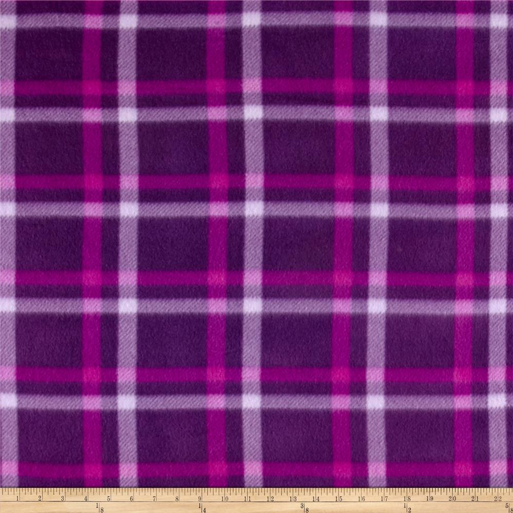 Polar Fleece Print Club Plaid Purple